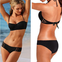 Black new hollow steel prop foreign trade wholesale bikini swimsuit Spa sexy swimwear