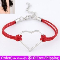 Fashion personality all-match beautiful metal leather bracelet heart of love jewelry