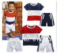 New Arrival short sleeve t-shirt +shorts baby Boy clothing sets children Leisure suit kids' Boys' T-Shirts sports wear 3sets/lot