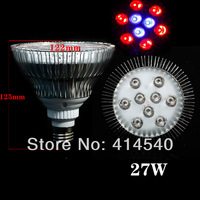 27W  6RED&3BLUE E27 LED Hydroponic Plant flowers vegatables Greens Flood LED Grow Lights plant growing lamp Bright Free shipping