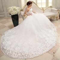 2014 plus size white long train princess trailing luxury tube top diamond embroidery