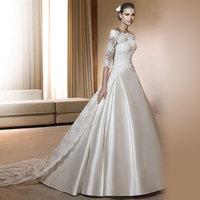 2014 edition sexy royal train wedding dress slit neckline lace long-sleeve wedding dress ivory white