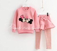2014 children's spring clothing cartoon 100% cotton girl child set culottes set item6801