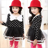 2014 spring summer dancing clothing princess dress 1pcs Girls long-sleeved dress gauze children tutu dot white dress