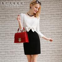Lovable Secret - One-piece dress female 2014 spring women's ol elegant bow one-piece dress  free shipping