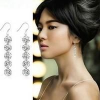 Wedding Ring Lady Earrings Fashion Crystal Rhinestone,Exaggerated Tassels Shape, White Gold Stud Pin, Female Ear Rings Jewelry