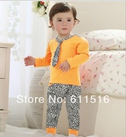 2014 spring new 0-5 year baby children suit boys and girls very popular leopard print suit,Tie t-shirt and pants spring costume