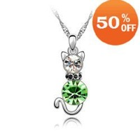 5 colors cat design white gold plated rhinestone austrian crystal fashion pendant necklace jewelry for women 3J037
