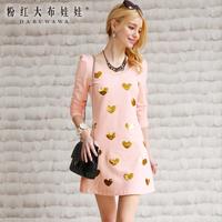 Lovable Secret - 2014 spring one-piece dress women's V-neck love paillette long-sleeve dress  free shipping