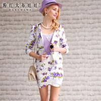 Lovable Secret - Small short skirt 2014 spring women's purple sweatshirt white short skirt  free shipping