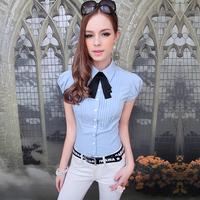 Lovable Secret - Shirt female 2013 small lapel bow tie slim bubble short-sleeve top  free shipping