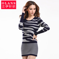 Olans spring and autumn women's long design stripe low o-neck sweater female slim knitted basic shirt