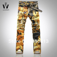 Free delivery New 2014 fashion jeans men Tide Painted Graffiti print stretch cotton Pants Thin men Slim Big size jeans