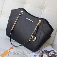 New   woman  real metal chain leather totes shoulders handbag   4 colors(free ship)