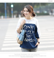 Korean Printed Stitching Long Sleeve T-Shirt Pink  Free shipping