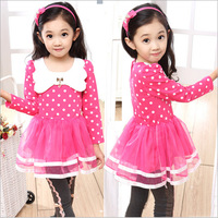 Retail 2014 spring summer dancing clothing princess dress 1pcs Girls long-sleeved dress gauze children tutu dot white dress