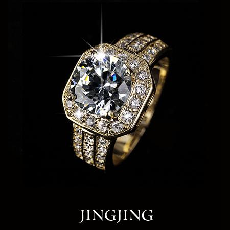 18k vergoldet 2 karat schweizer zirkonia rundschnitt zinke mit kissen form Halo Engagement Ring( jinjing jr016a)