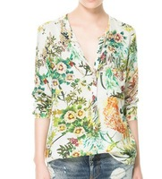 Free shipping,Leisure personality Flower Printed cardigan blouse women's 9927