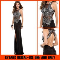 RBP311 Sexy Black Backless Vestidos De Gala Prom Dresses Elegant Silver Lace illusion Zuhair Murad Evening Dresses 2014
