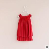 2014 spring new girls casual yarn long slip dresses with flower  baby girls braces dress kids dress childrens clothing 2T-8T