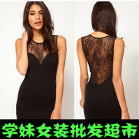 2014 explosion models in Europe and America perspective stitching lace halter vest dress sexy package hip Slim Dress