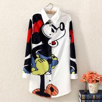 Fashion vintage e943 2014 HARAJUKU MICKEY MOUSE long design long-sleeve shirt female shirt dress
