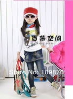 Big sale 1pcs/lot New Autumn female children denim skirt jeans 2 piece girls jeans Stitching stripes