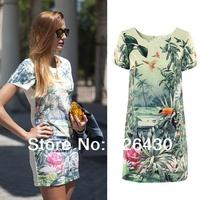 free shipping Dropshipping Brand new 2014 women Short Sleeve Flower Birds Print Dress lady summer party dress