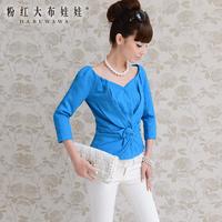 Lovable Secret - 2013 autumn blue slim pleated elegant outerwear ladies noble  free shipping