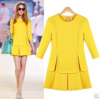 new 2014 spring plus size clothing slim elegant fashion basic one-piece dress LS101