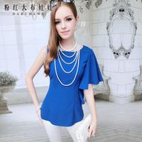 Lovable Secret - Shirt female irregular ruffle slim sleeveless chiffon shirt women's shirt  free shipping