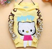 Retail  1 pc spring 2014 children spring /autumn outwear  Hello kitty outerwear Children hoodies TS026