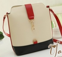 New Hotsale  preppy style vintage color block women's handbag bucket shoulder bag messenger bags