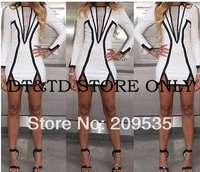 2014 New Fashion wholesale winter midi bandage dress pencil dress bodycon mesh dress sexy women elegant party dresses A0153