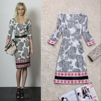 2014 fashion high quality elegant national trend vintage print three quarter sleeve slim knitted one-piece dress
