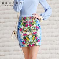 Lovable Secret - Bust skirt short skirt 2014 spring women's blue print skirt slim hip skirt  free shipping