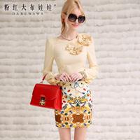 Lovable Secret - Shirt female 2014 spring gem stereo flower ol slim long-sleeve shirt  free shipping