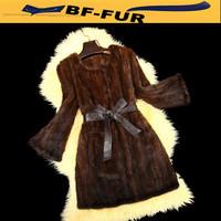 New Genuine Real Mink Fur Women Luxury Coat Natural Knitted Mink Fur Female Jacket Long Retro Design Womens Fur Jacket Coats