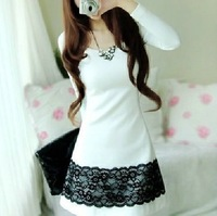 Free shipping Good Price Women's Cute Lace Dress Fashion Casual Cotton Dresses Sweet Lady Dress