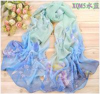 Flower Gradient Color Cotton Pashmina Shawls Scarf,2014 Hijab Scarves Chiffon Female Cape Long Scarfs For Women