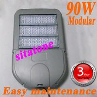 free shipping AC85-265V 90W Module led street light IP65 Bridgelux 130-140LM/W LED 90*1w led street light 3 years warranty