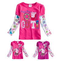 New 2014 Spring Peppa Pig Top for Girls Clothing Children Girl t shirt Full Sleeve t-shirts Kids Cotton Shirt Cute Girl Clothes