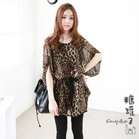 2014 Casual Korean Women's Fashion Nice Leopard Blouses Half Sleeve Long Shirt Chiffon Blouse Batwing Sleeve Dress Style 1125H