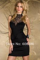 Elegant Women's Evening Dress,Black Noble Ruched Hem Embroideried High Neck Sleeveless Backless Ladies' Sheath Mini Party Dress