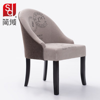 Jane domains wood fabric high back dining chairs minimalist Western European restaurant club single chair special factory direct