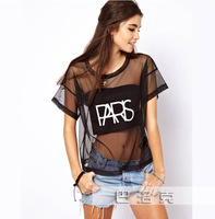 2014  Women Black Sexy Fashion Perspective Gauze Patch Stitching Letters Printed  Short Sleeve T-shirt   S M L XL