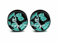 Wholesale 60pcs/lot green lady picture screw fit flesh tunnel ear plug gauges mix 6-25mm sizes