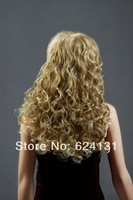 2014 Best selling ! New Women Long Fashion Full Curly Golden Color Hair Wig Lady Stylish Wave Wig