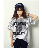 2014 summer women korean fashion tiger head letter print vertical stripe baseball t-shirt casual t shirt tops black, white