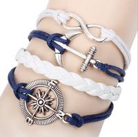 2014 Hotting Sale Fashion Vintage Anchors Rudder Leather Bracelet Multilayer Bracelet for Women Bracelet SB272